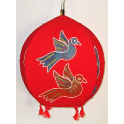 Unique colorful Lamp like Roof Hanging from Pipili-Appliques-OdiKala Handicrafts-Red-20 cm length and 39 cm diameter-OdiKala