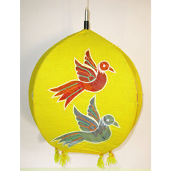 Unique colorful Lamp like Roof Hanging from Pipili-Appliques-OdiKala Handicrafts-Yellow Bird-20 cm length and 39 cm diameter-OdiKala