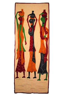 Unique Three Ladies Modern Art Wall Hanging from Pipili-Appliques-OdiKala Handicrafts-54 cm length and 20 cm width-OdiKala