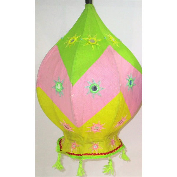 Decorative Lamp Shade (Balloon shaped)-Appliques-OdiKala Handicrafts-21 cm length 39 cm diameter-OdiKala