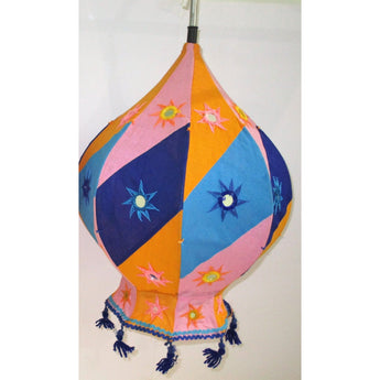 Decorative Lamp Shade (Balloon shaped)-Appliques-OdiKala Handicrafts-21 cm length and 39 cm diameter-OdiKala