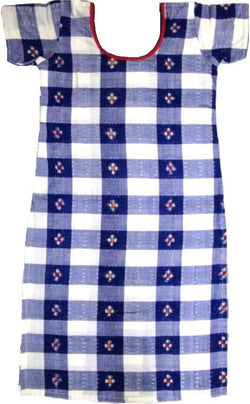 Blue and white colour sambalpuri kurti with new design, 34inches