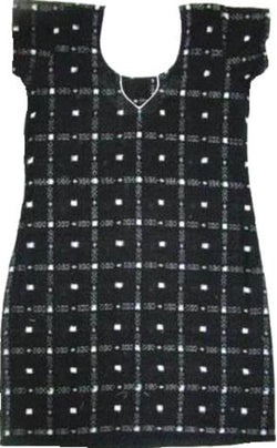 "Handloom Ikat Cotton Kurti, Size 34"", Black"
