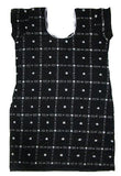Handloom Ikat Cotton Kurti, Size 38 Inches, Black Colour-Kurti-OdiKala-OdiKala