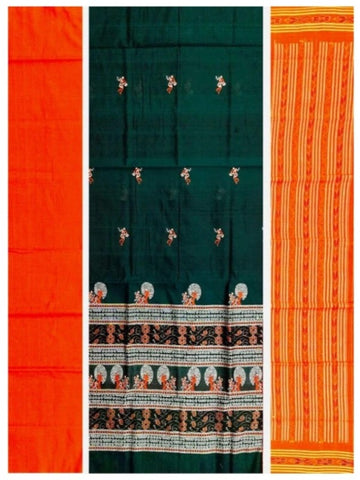 Bomkai Cotton Dress Material Set. Green Orange Combinatioan