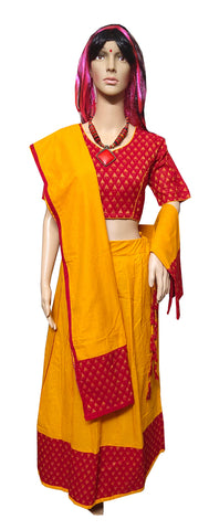 Sambalpuri Cotton Readymade GHAGRA CHOLI Set