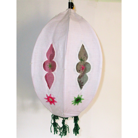 Unique colorful Lamp like Roof Hanging from Pipili-Appliques-OdiKala Handicrafts-white-20 cm length and 39 cm diameter-OdiKala