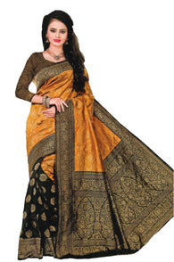 COTTON SILK SAREE (WITH BLOUSE PIECE)-Fancy Sarees-Odikala Fancy Store-GOLD BLACK-OdiKala