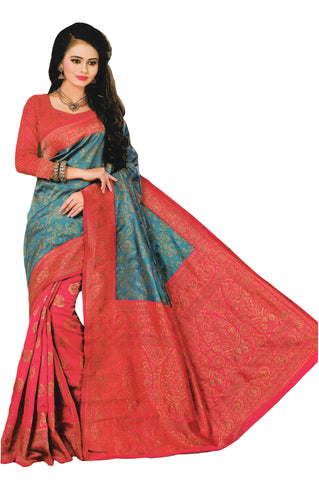 COTTON SILK SAREE (WITH BLOUSE PIECE)-Fancy Sarees-OdiKala Fancy Store-OdiKala