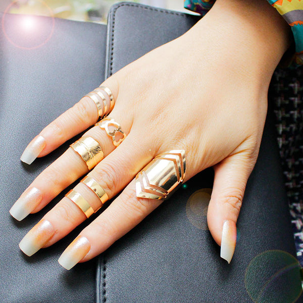 F&U Zinc Alloy Gold Plated Ring Set for 5pcs Fashion Girls Gift Europe Popular Style Gold Color Set Ring  R104