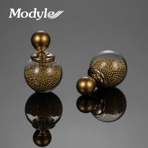 Modyle new design gold plated fashion jewelry thick glass beads stud earrings double ball earrings for women Christmas gift