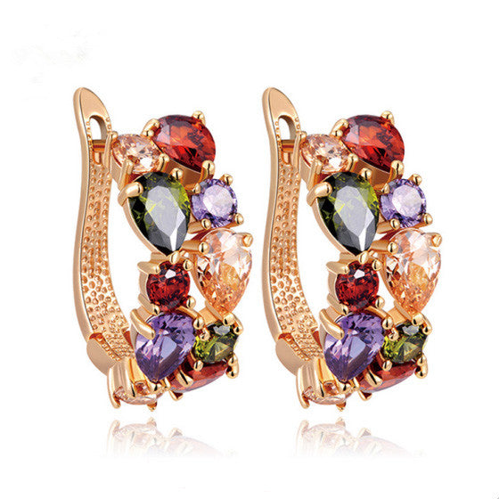 Luxury Rose Gold Plated Mona Lisa Stud Earrings For Women with Colorful Zircon Crystal Wedding Jewelry Earrings
