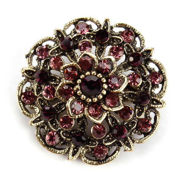 Factory Direct Sale Antique Gold Plated Crystal Rhinestones Vintage Flower Brooch Collar Lapel Pins for Women in assorted