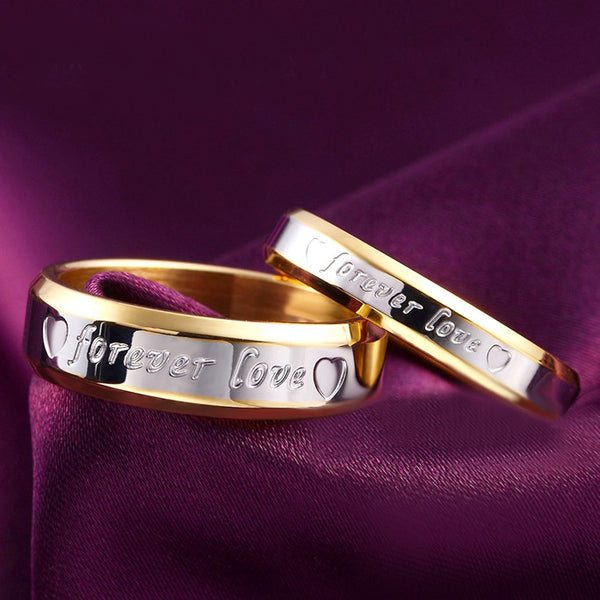 2017 TRENDY!! 1pcs Never fade engagement 18k gold silver plated forever Love letter jewerly accessories Women & Men wedding Couple Rings