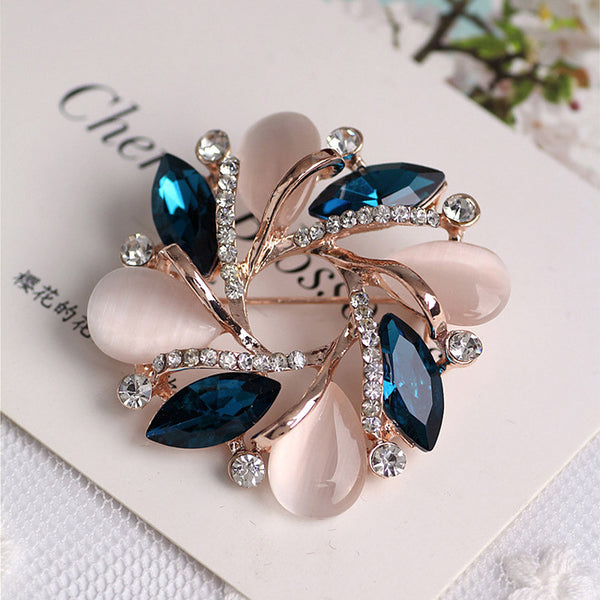 Fashion New Crystal  Bauhinia Shape Brooch For Women Dress Decorative Pin HB88