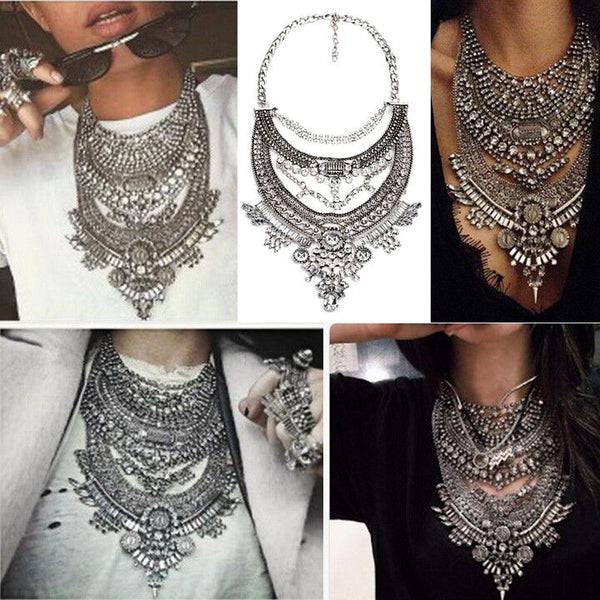2017 HOT NOW!! Collar ZA Necklaces & Pendants Vintage Crystal Maxi Choker Statement Silver Collier Femme Boho Big Fashion Women Jewellery