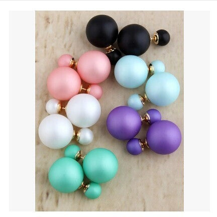 2017 TRENDING NOW!! Fashion Cheap Price Fashion Double Sides Matte Candy Color Round Ball Stud Earrings For Lady crystal jewelry