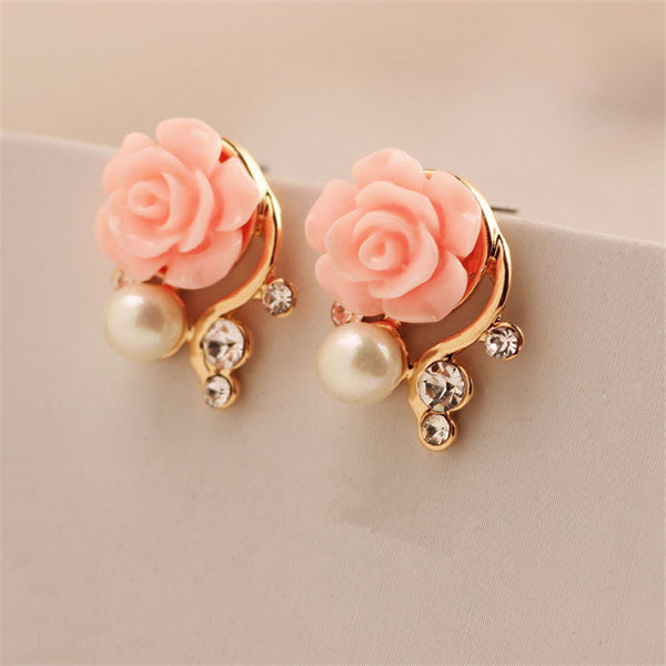Fashion Jewelry 2017 New Earings For Women Korean Style OL Pink Rose  Crystal Pearl Double Side Stud Earings 163