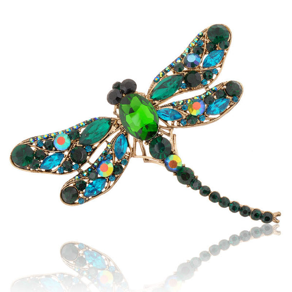 2017 HOT!!! New Fashion Jewelry Broochs 8 Colors Vintage Lovely Dragonfly Crystal Rhinestone Scarf Pins Brooches For Women