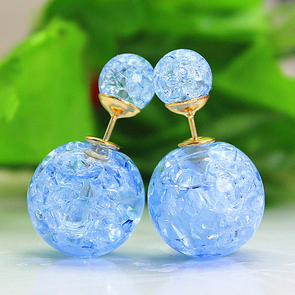 2017 HOT!!! New fashion Jewery elegant double imitation Pearl stud Earrings for women cute Opal beads earrings