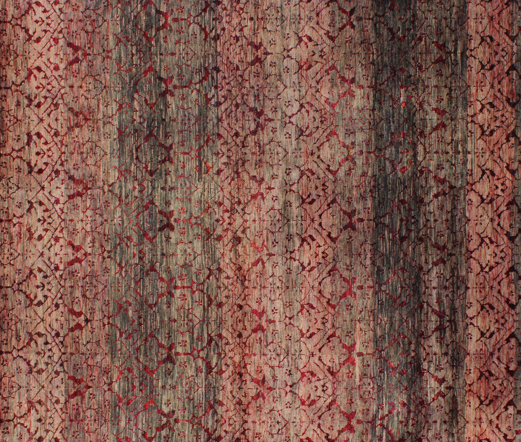 Damask Mulled Wine Wool and Sari Silk Carpet