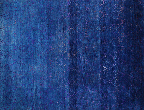 Damask Indigo Wool and Sari Silk Carpet