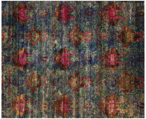 Exuberance Methyl Blue Sari Silk Carpet