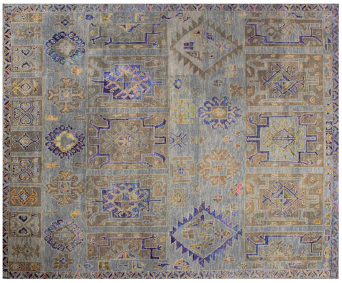 Guja Opal Grey Wool and Sari Silk carpet
