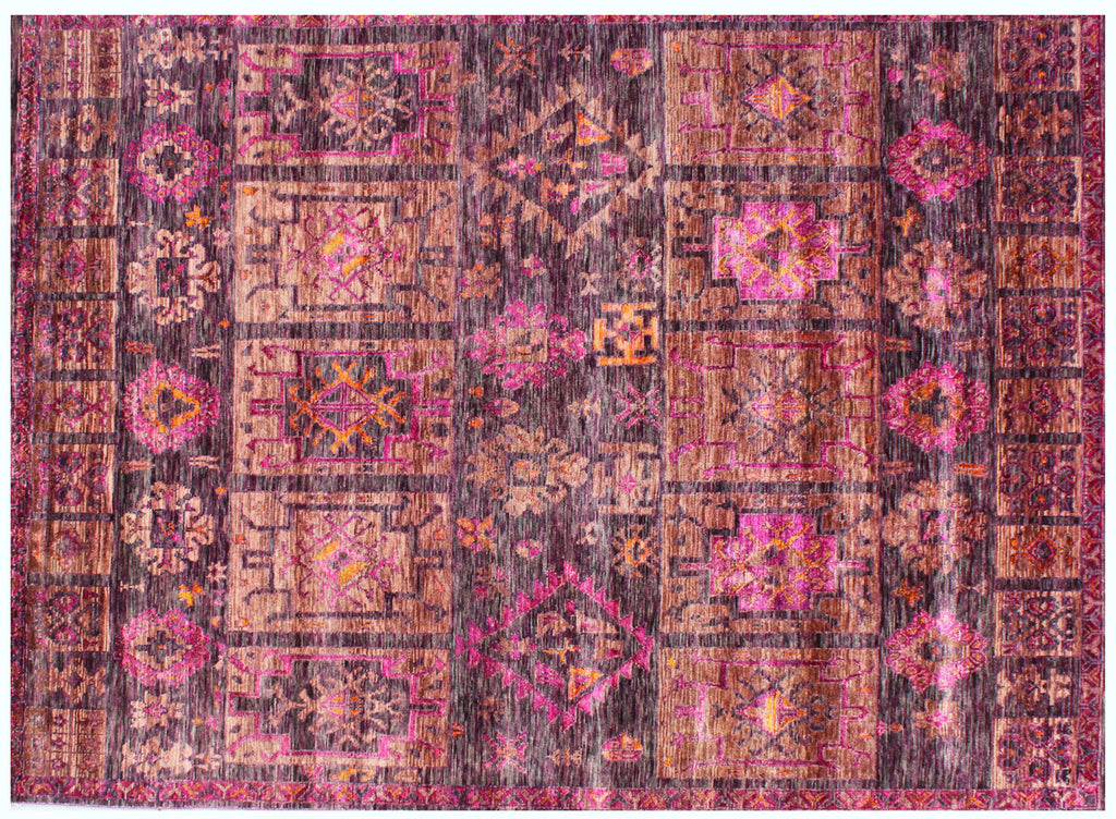 Guja rose wood wool and sari silk carpet