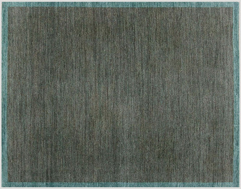 Herringbone rugged teal wool carpet