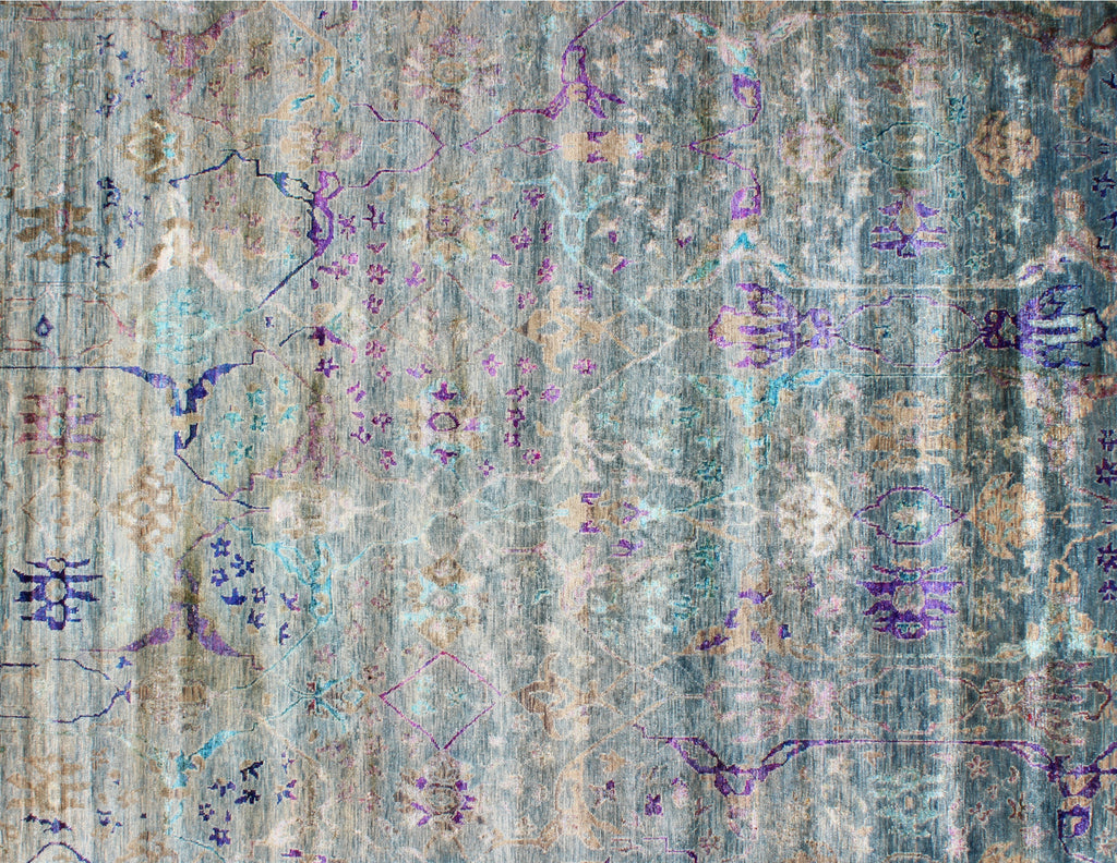 Briar Blue Lavender Wool and Sari Silk Carpet