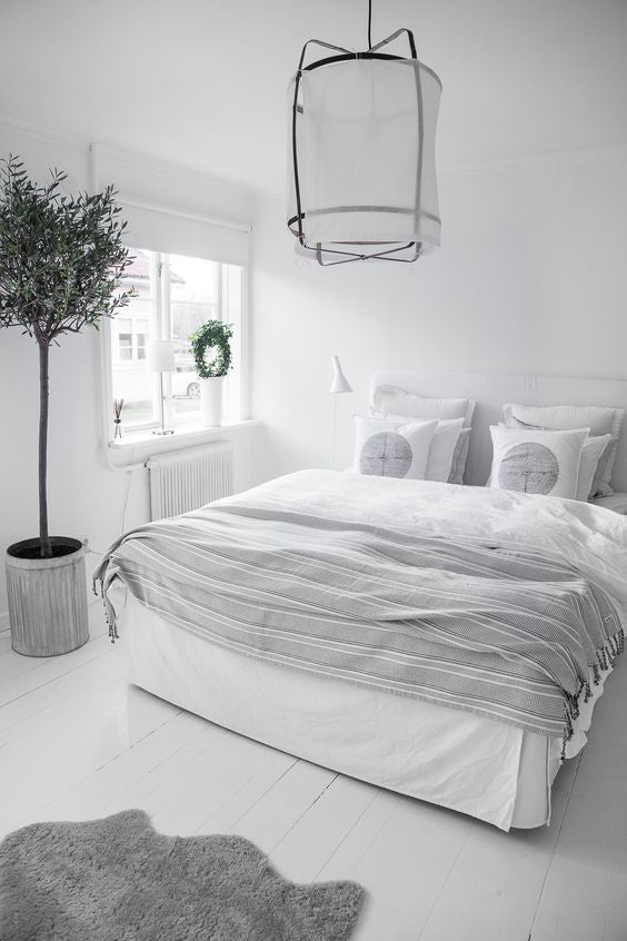 cozy white bed