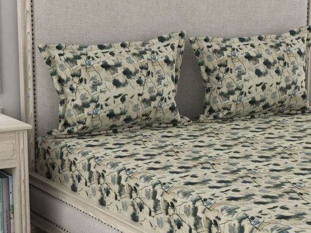 Su Casa King Bed Sheet - Autumn (Indigo Blue)