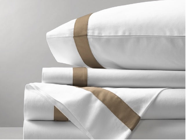 Organic Cotton Bed Sheet Set (Banded Taupe)