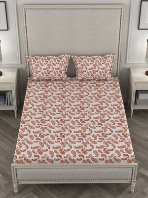 Su Casa King Bed Sheet - Red Paisley
