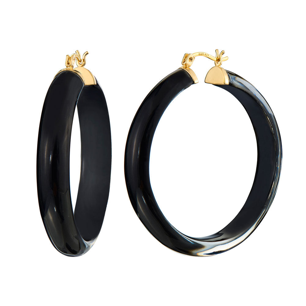 Large Round Illusion Lucite Hoops - Click Top