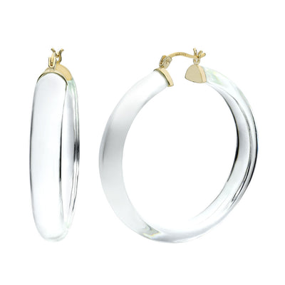 XL Round Lucite Hoops - CLEAR