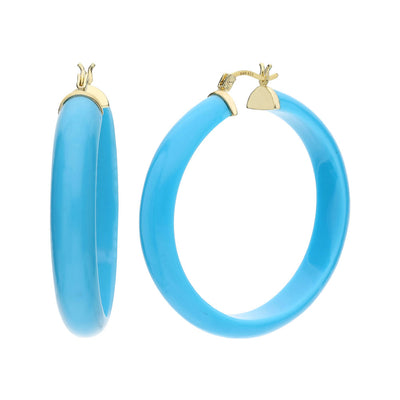 XL Round Lucite Hoops - TURQUOISE