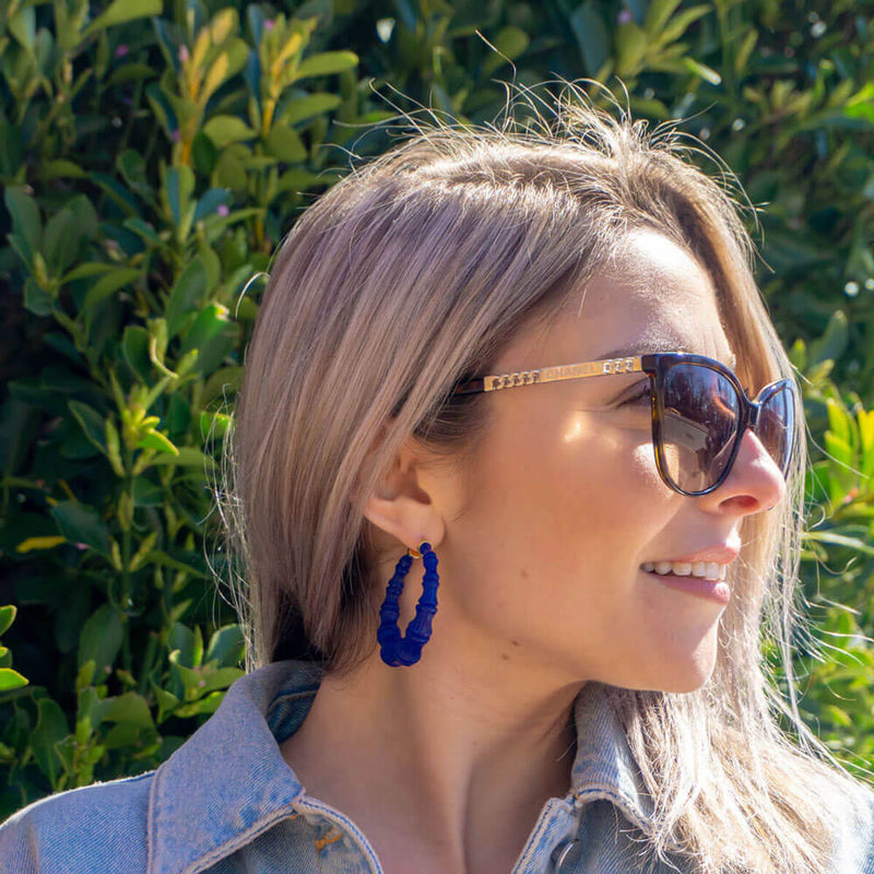 Royal Blue Lucite Bamboo Hoops