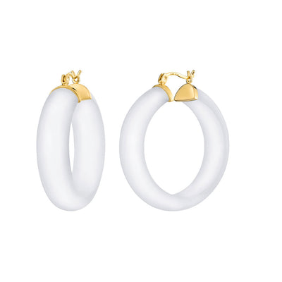 Small Illusion Lucite Hoops - Click Top