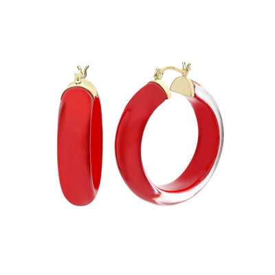 Medium Illusion Lucite Hoops RED