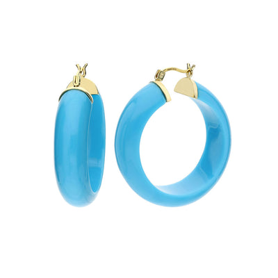 Medium Lucite Hoops - TURQUOISE