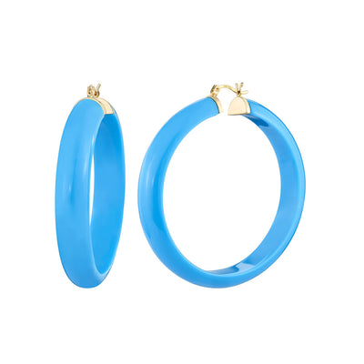 Large Lucite Hoops - TURQUOISE