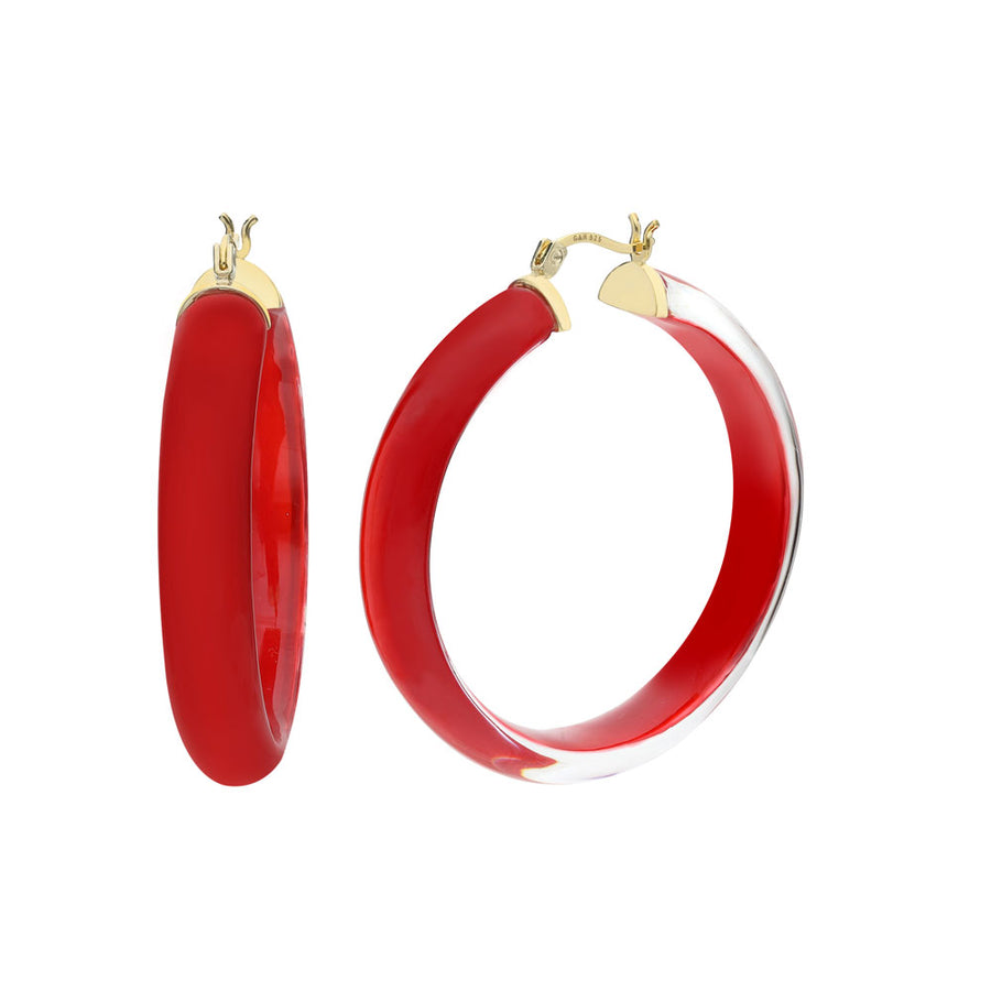 Large Illusion Lucite Hoops BLACK