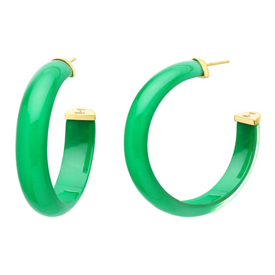 Medium Illusion Lucite Hoops in Emerald