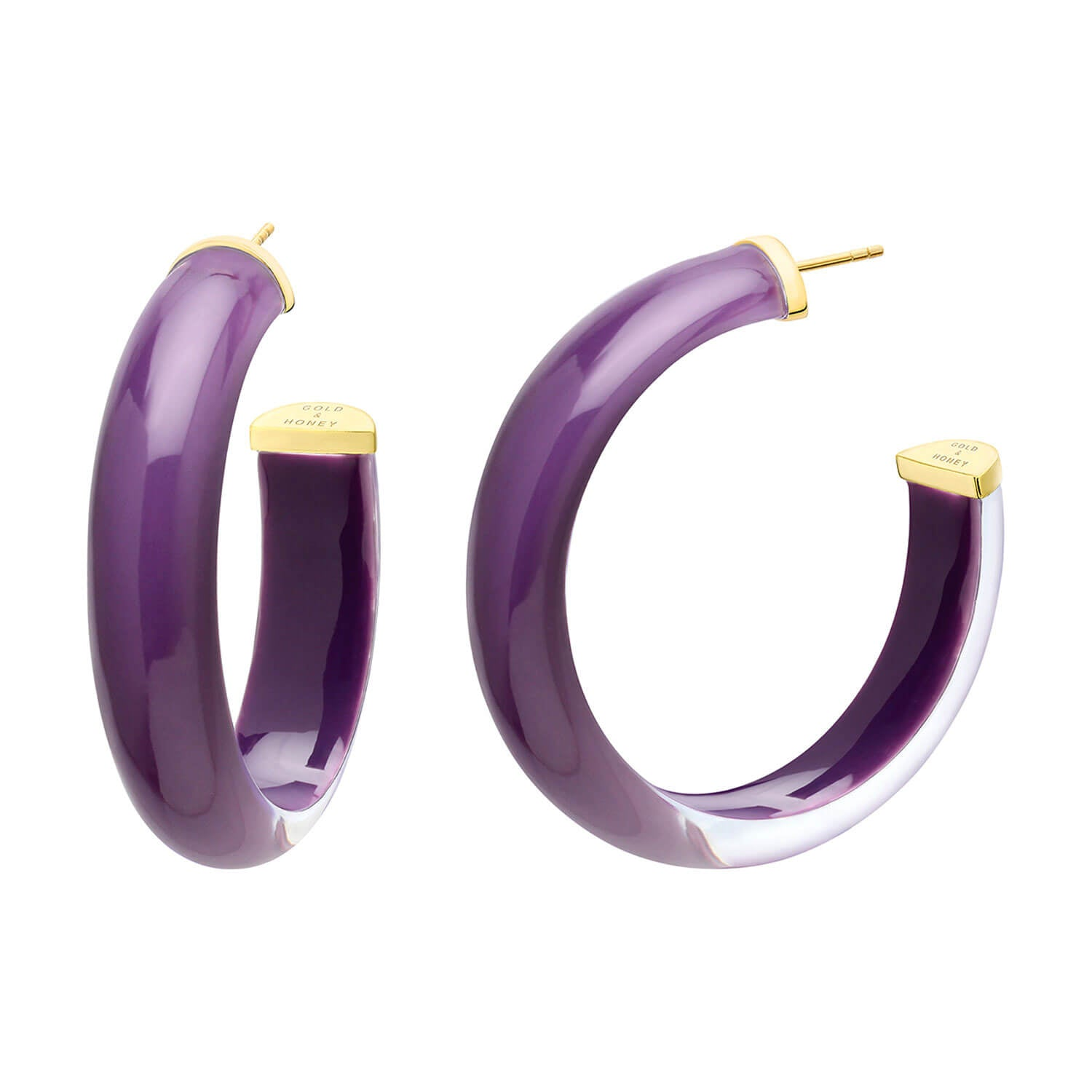 Medium Illusion Lucite Hoops in Merlot