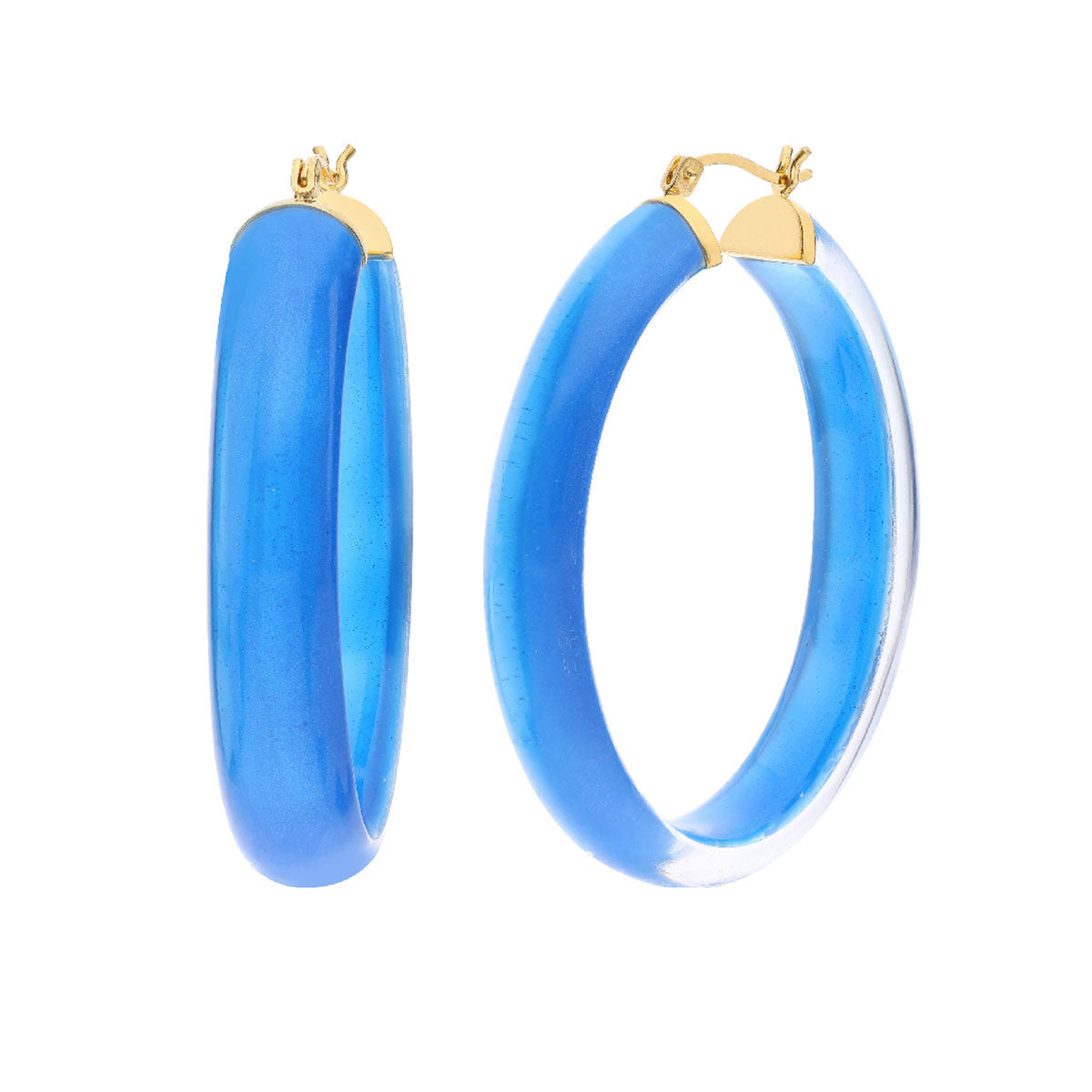 XL Illusion Oval Lucite Hoops - BLUE