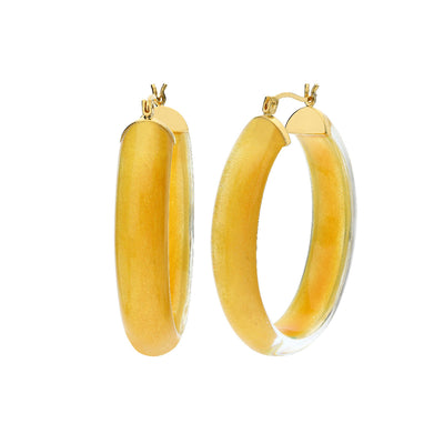 Large Illusion Oval Lucite Hoops - GOLDEN