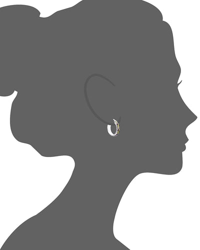 Garden Snake Diamond Cut Hoop Earring (Small) Vector