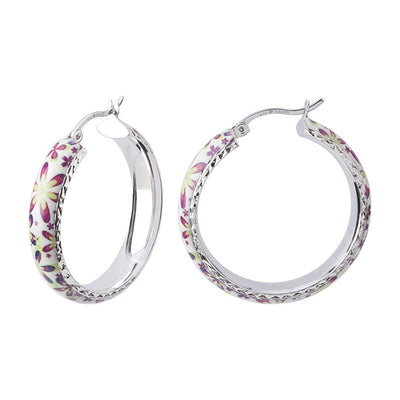 Sterling Silver Spring Floral Hoop Earrings